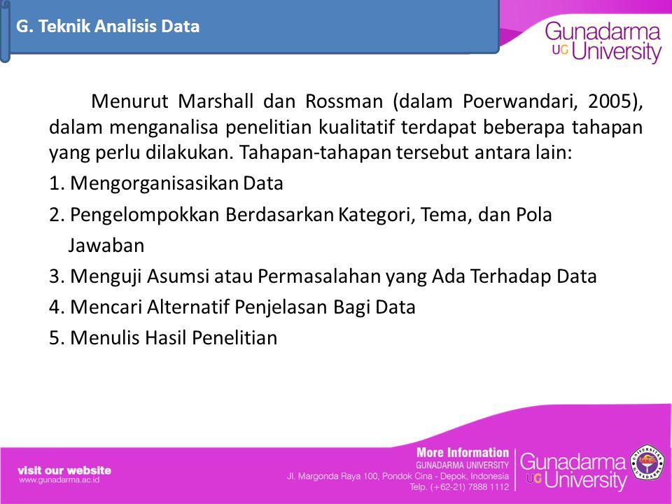 Menurut Marshall dan Rossman (dalam Poerwandari, 2005), dalam menganalisa penelitian kualitatif terdapat beberapa tahapan yang perlu dilakukan. Tahapa