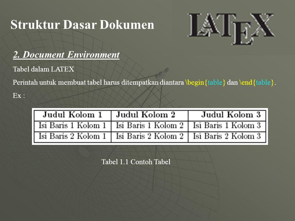 Struktur Dasar Dokumen 2. Document Environment Tabel dalam LATEX Perintah untuk membuat tabel harus ditempatkan diantara \begin{table} dan \end{table}