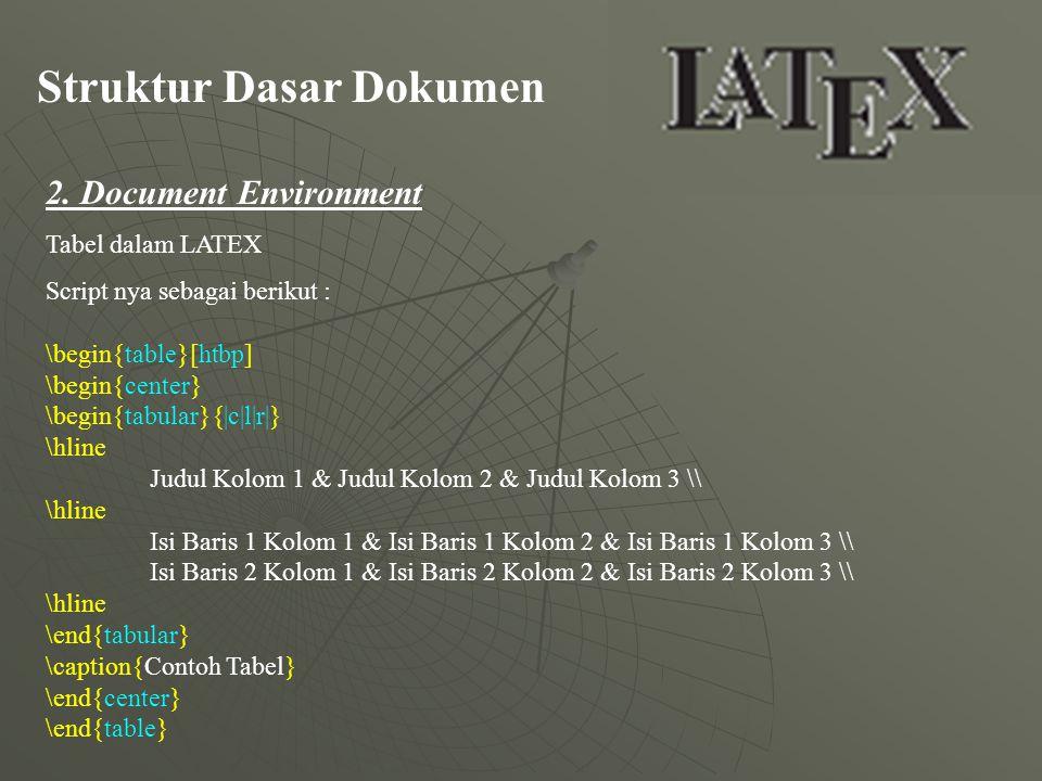 Struktur Dasar Dokumen 2. Document Environment Tabel dalam LATEX Script nya sebagai berikut : \begin{table}[htbp] \begin{center} \begin{tabular}{|c|l|