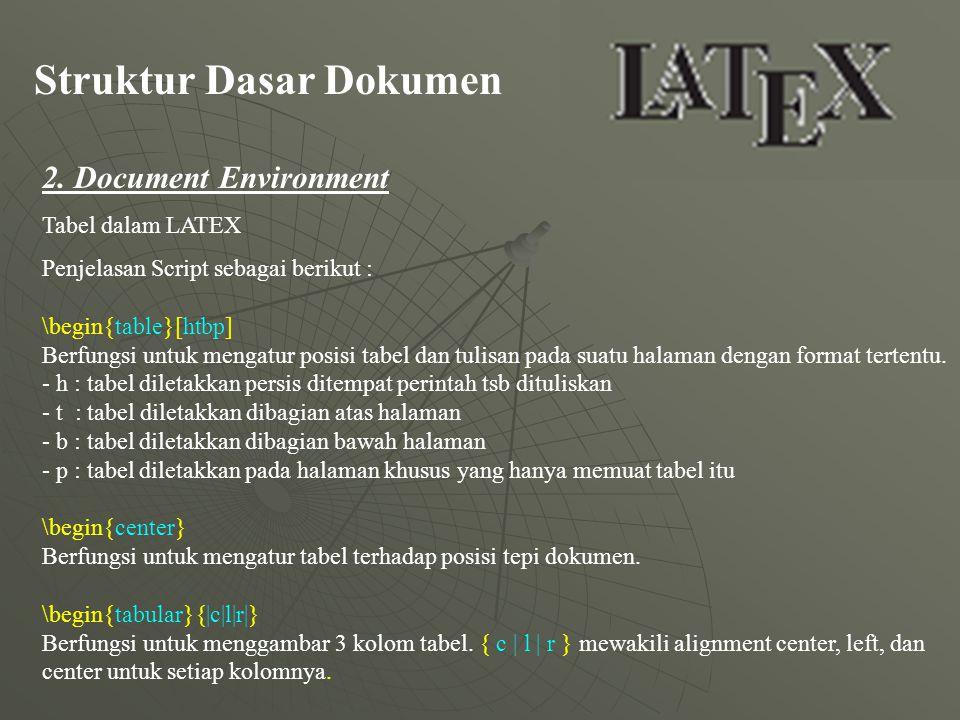 Struktur Dasar Dokumen 2. Document Environment Tabel dalam LATEX Penjelasan Script sebagai berikut : \begin{table}[htbp] Berfungsi untuk mengatur posi