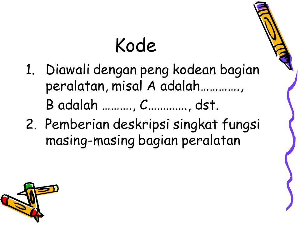 Kode 1.Diawali dengan peng kodean bagian peralatan, misal A adalah…………., B adalah ………., C…………., dst.