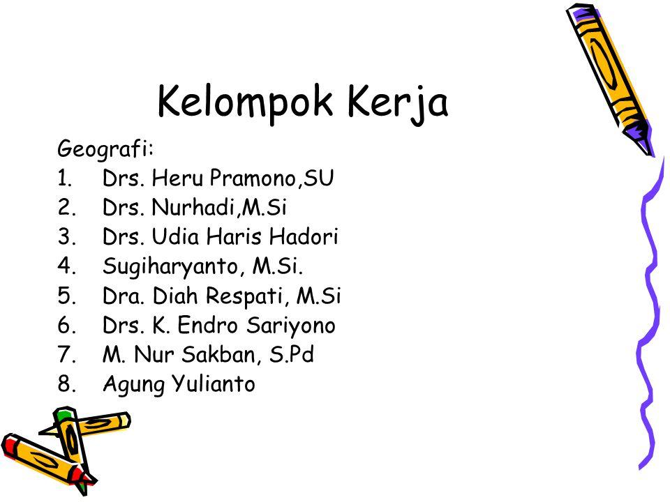 Kelompok Kerja Geografi: 1.Drs.Heru Pramono,SU 2.Drs.