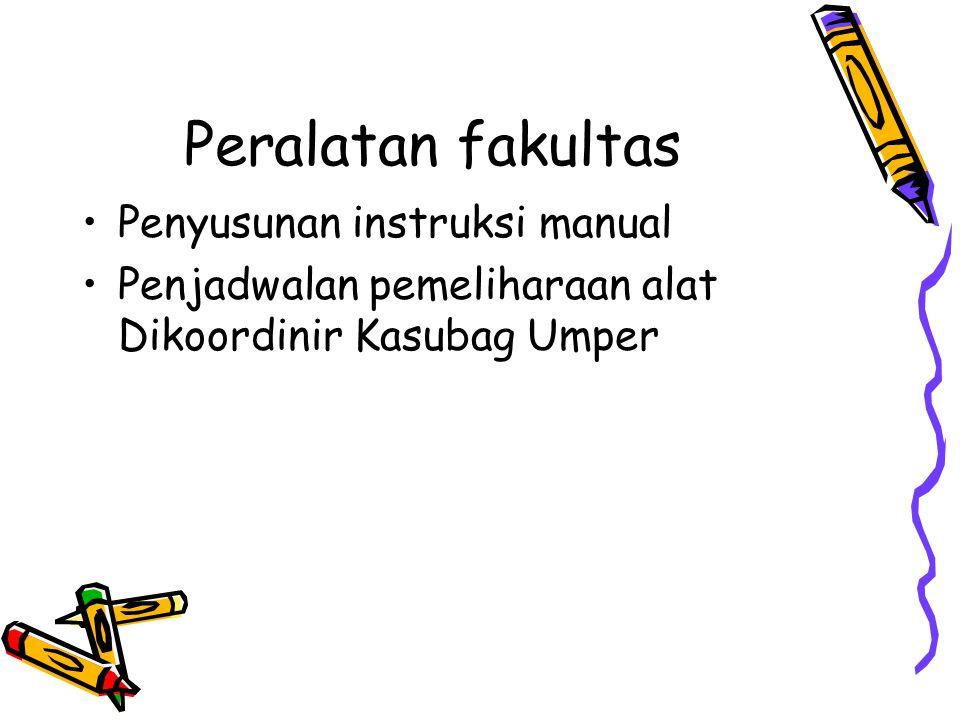 Peralatan fakultas Penyusunan instruksi manual Penjadwalan pemeliharaan alat Dikoordinir Kasubag Umper