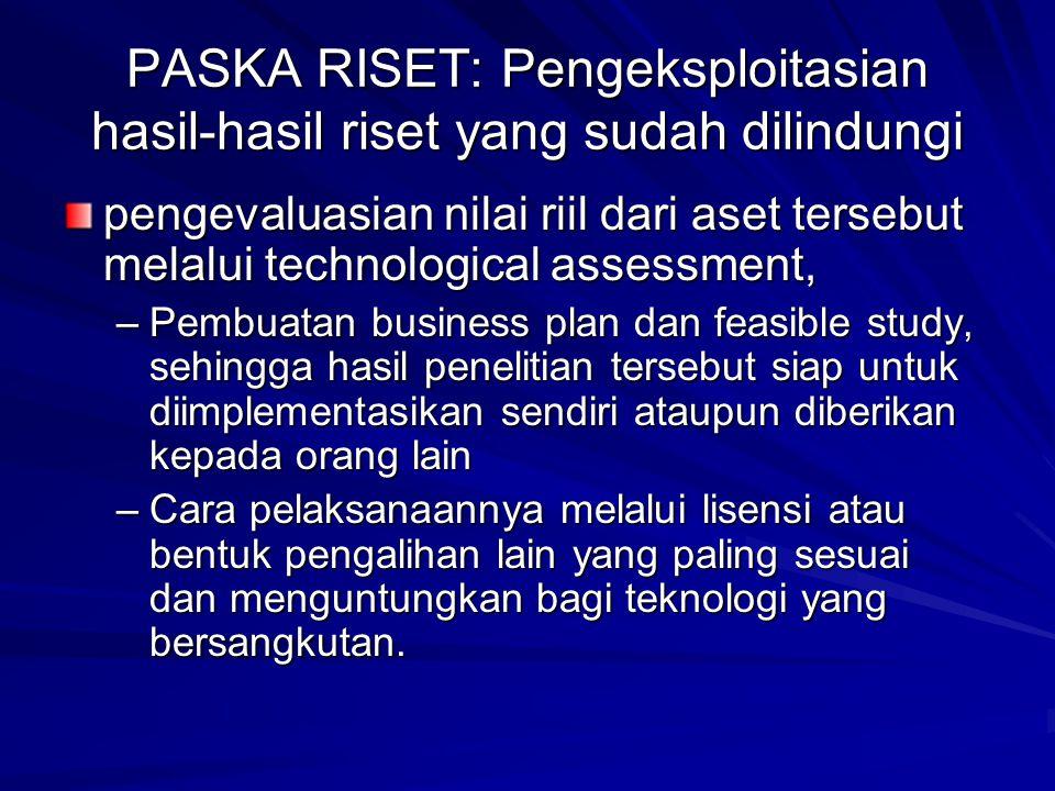PASKA RISET: Pengeksploitasian hasil-hasil riset yang sudah dilindungi pengevaluasian nilai riil dari aset tersebut melalui technological assessment,