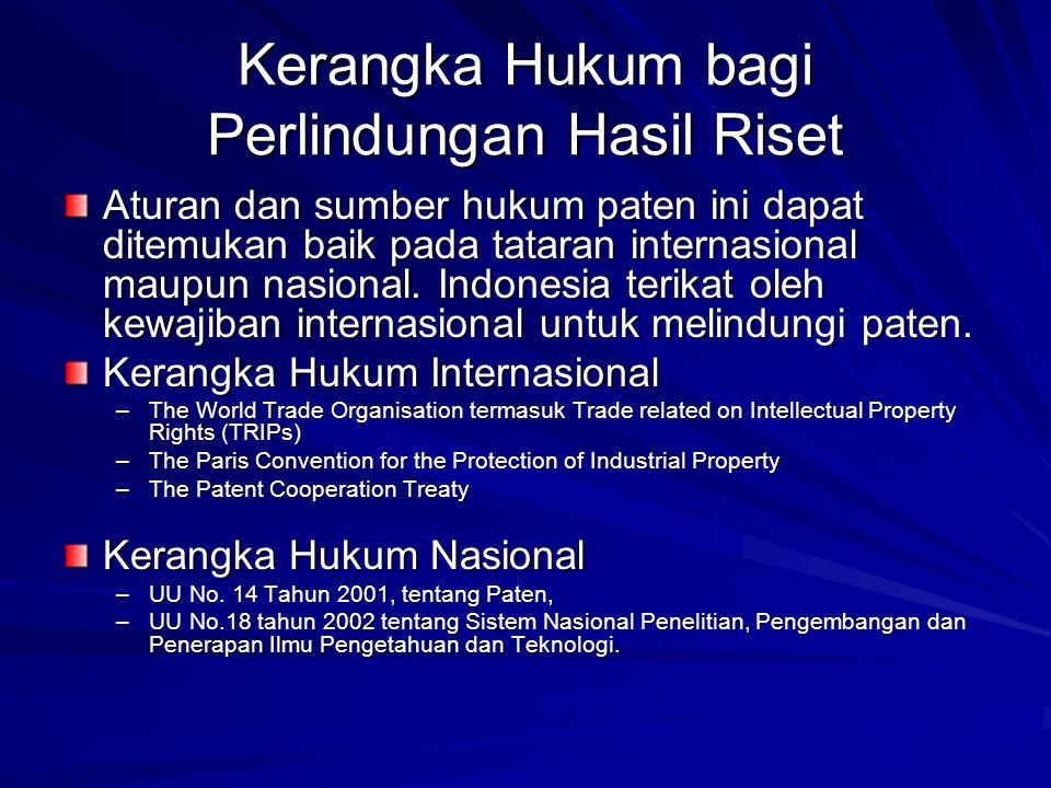 Kerangka Hukum bagi Perlindungan Hasil Riset Aturan dan sumber hukum paten ini dapat ditemukan baik pada tataran internasional maupun nasional. Indone