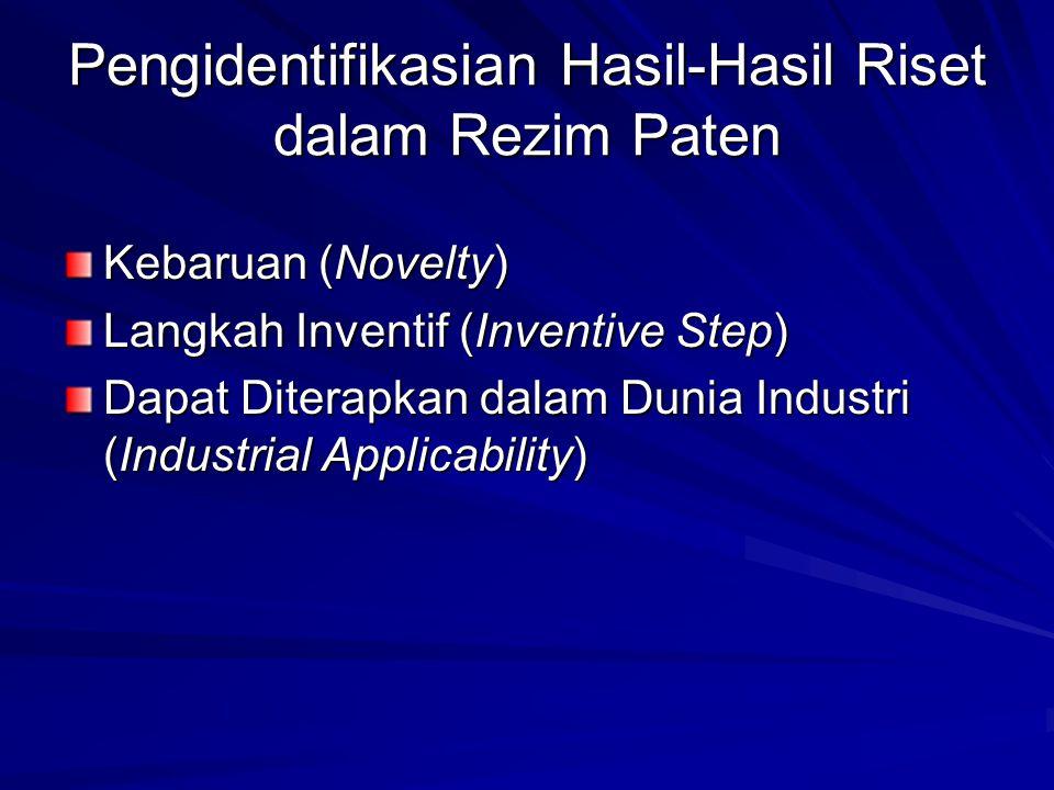 Pengidentifikasian Hasil-Hasil Riset dalam Rezim Paten Kebaruan (Novelty) Langkah Inventif (Inventive Step) Dapat Diterapkan dalam Dunia Industri (Ind