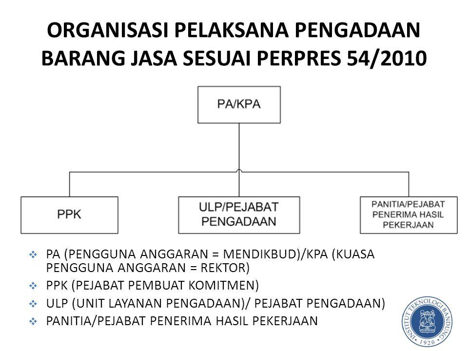 ORGANISASI PELAKSANA PENGADAAN BARANG JASA SESUAI PERPRES 54/2010 5  PA (PENGGUNA ANGGARAN = MENDIKBUD)/KPA (KUASA PENGGUNA ANGGARAN = REKTOR)  PPK