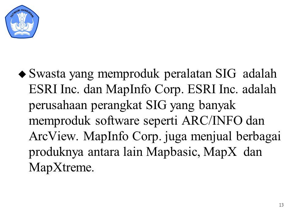 13 u Swasta yang memproduk peralatan SIG adalah ESRI Inc. dan MapInfo Corp. ESRI Inc. adalah perusahaan perangkat SIG yang banyak memproduk software s