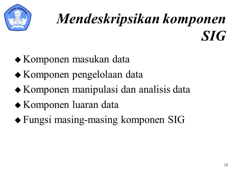 Mendeskripsikan komponen SIG u Komponen masukan data u Komponen pengelolaan data u Komponen manipulasi dan analisis data u Komponen luaran data u Fung
