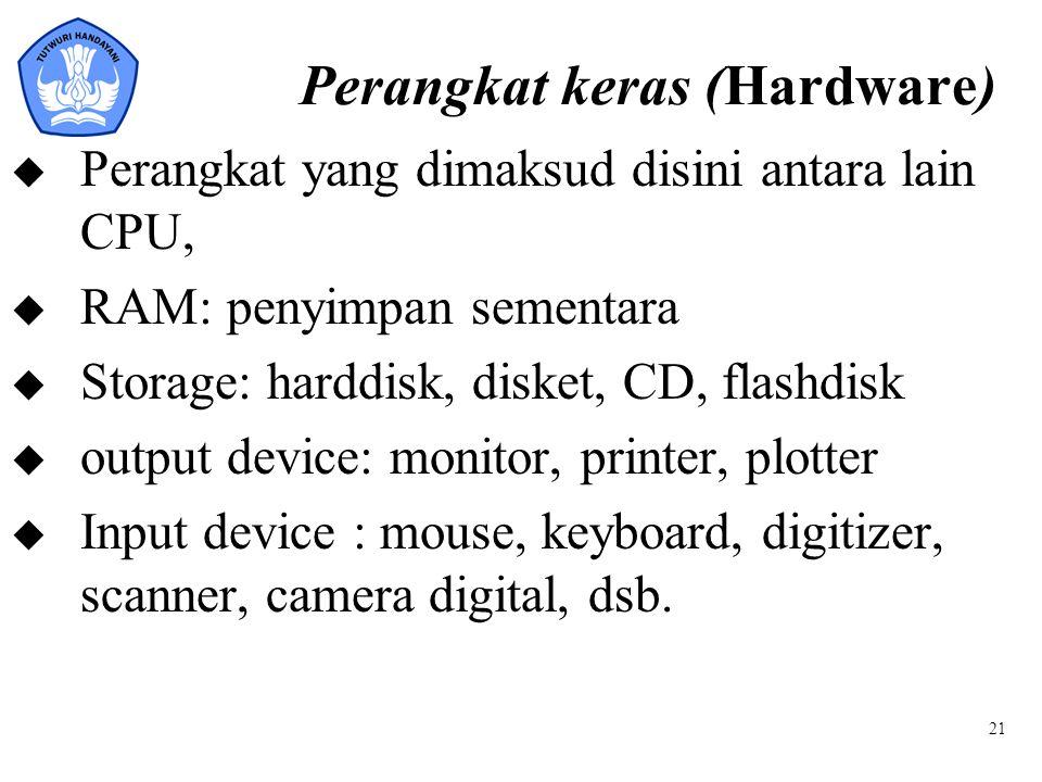 21 Perangkat keras (Hardware) u Perangkat yang dimaksud disini antara lain CPU, u RAM: penyimpan sementara u Storage: harddisk, disket, CD, flashdisk