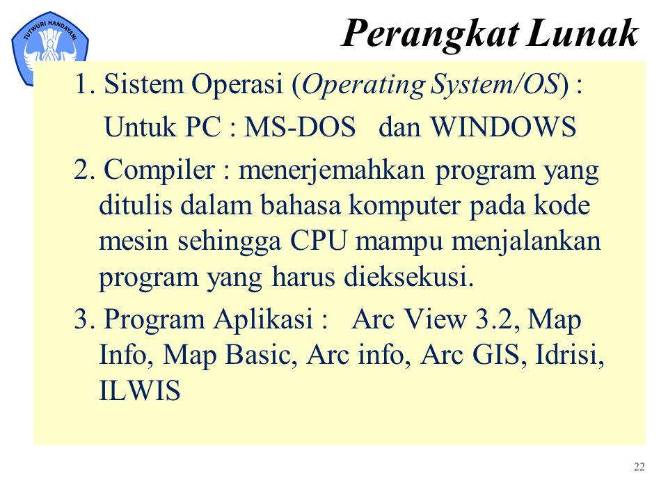 22 Perangkat Lunak 1. Sistem Operasi (Operating System/OS) : Untuk PC : MS-DOS dan WINDOWS 2. Compiler : menerjemahkan program yang ditulis dalam baha