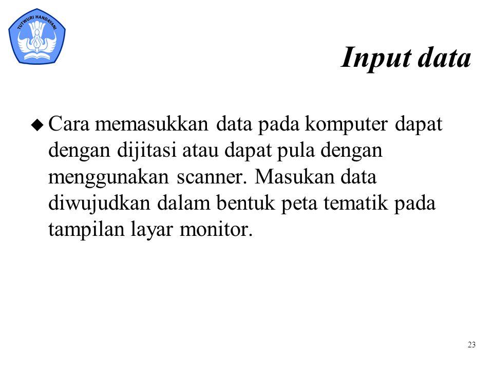 23 Input data u Cara memasukkan data pada komputer dapat dengan dijitasi atau dapat pula dengan menggunakan scanner. Masukan data diwujudkan dalam ben