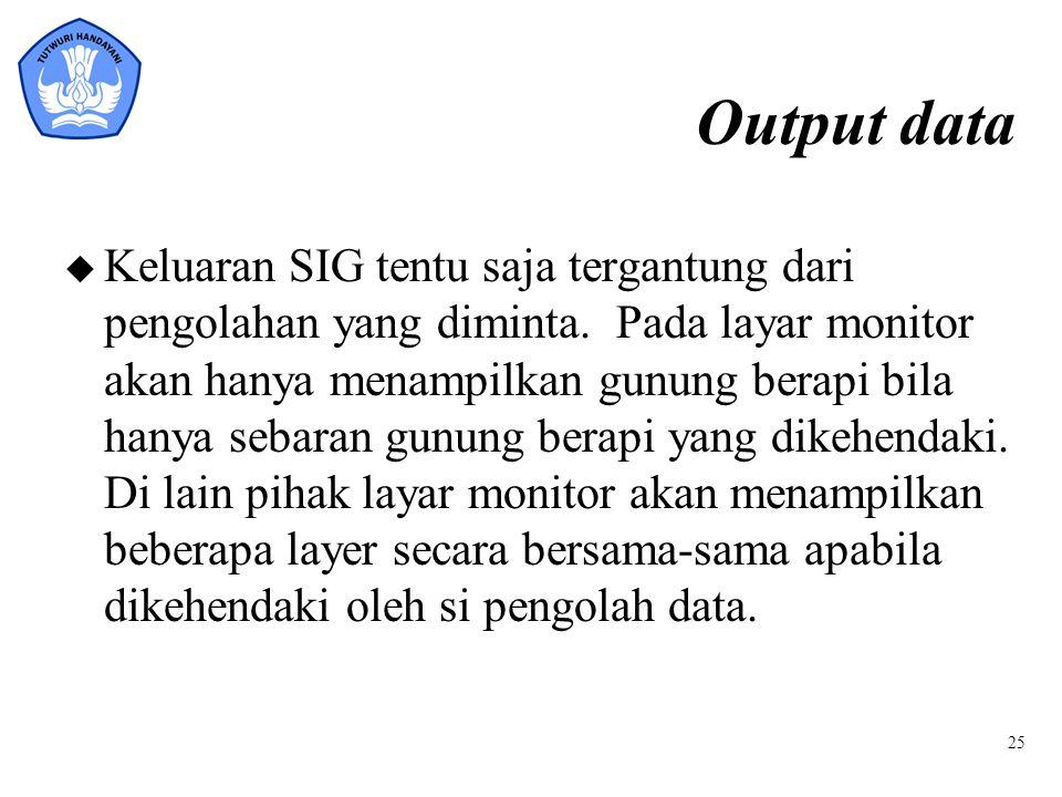 25 Output data u Keluaran SIG tentu saja tergantung dari pengolahan yang diminta. Pada layar monitor akan hanya menampilkan gunung berapi bila hanya s