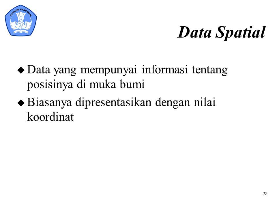 Data Spatial u Data yang mempunyai informasi tentang posisinya di muka bumi u Biasanya dipresentasikan dengan nilai koordinat 28
