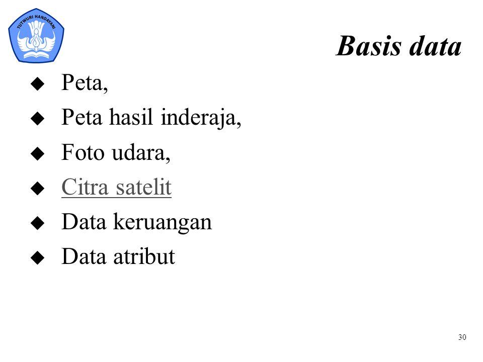 30 Basis data u Peta, u Peta hasil inderaja, u Foto udara, u Citra satelit Citra satelit u Data keruangan u Data atribut