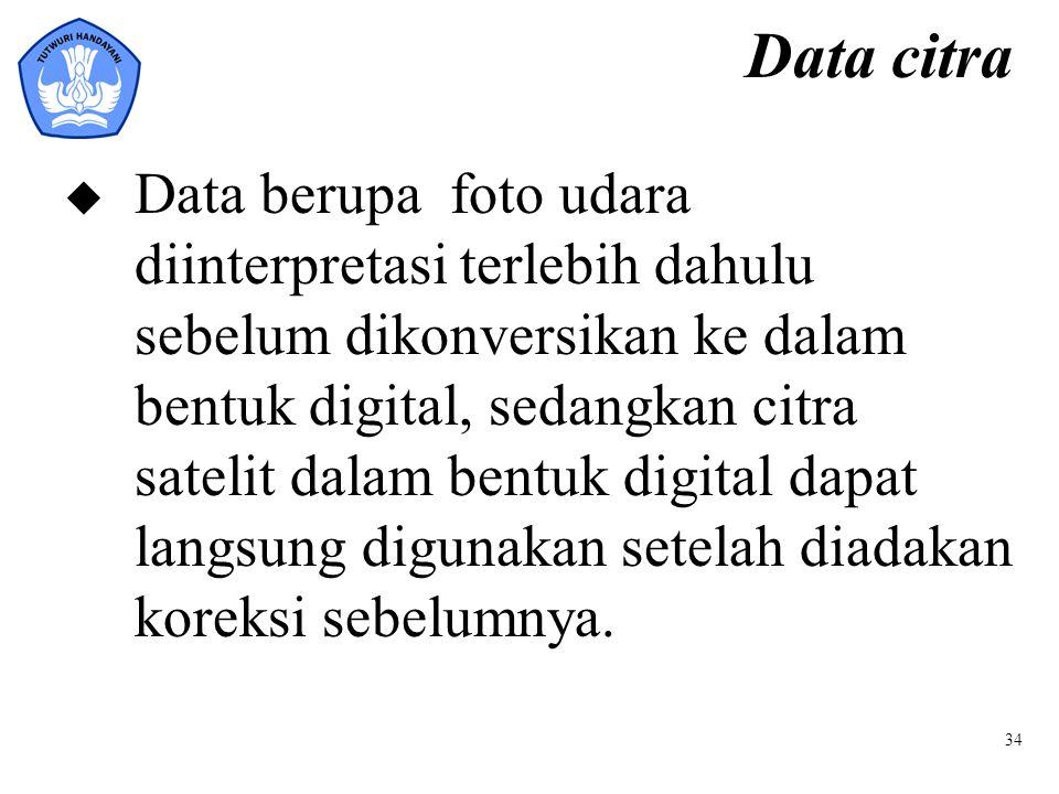 34 Data citra u Data berupa foto udara diinterpretasi terlebih dahulu sebelum dikonversikan ke dalam bentuk digital, sedangkan citra satelit dalam ben