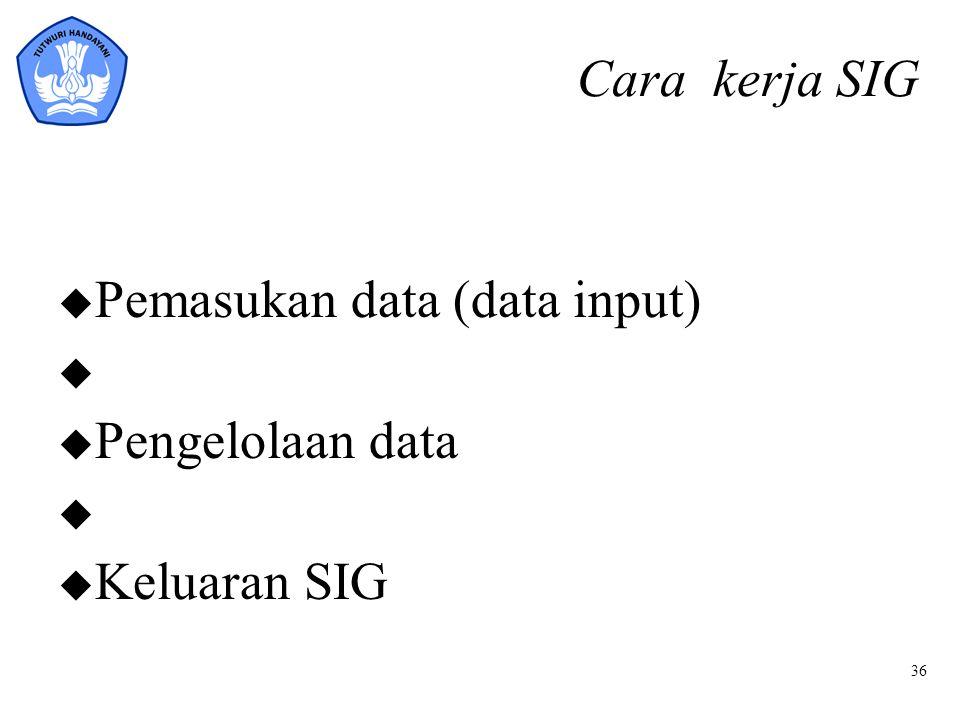 36 Cara kerja SIG u Pemasukan data (data input) u u Pengelolaan data u u Keluaran SIG