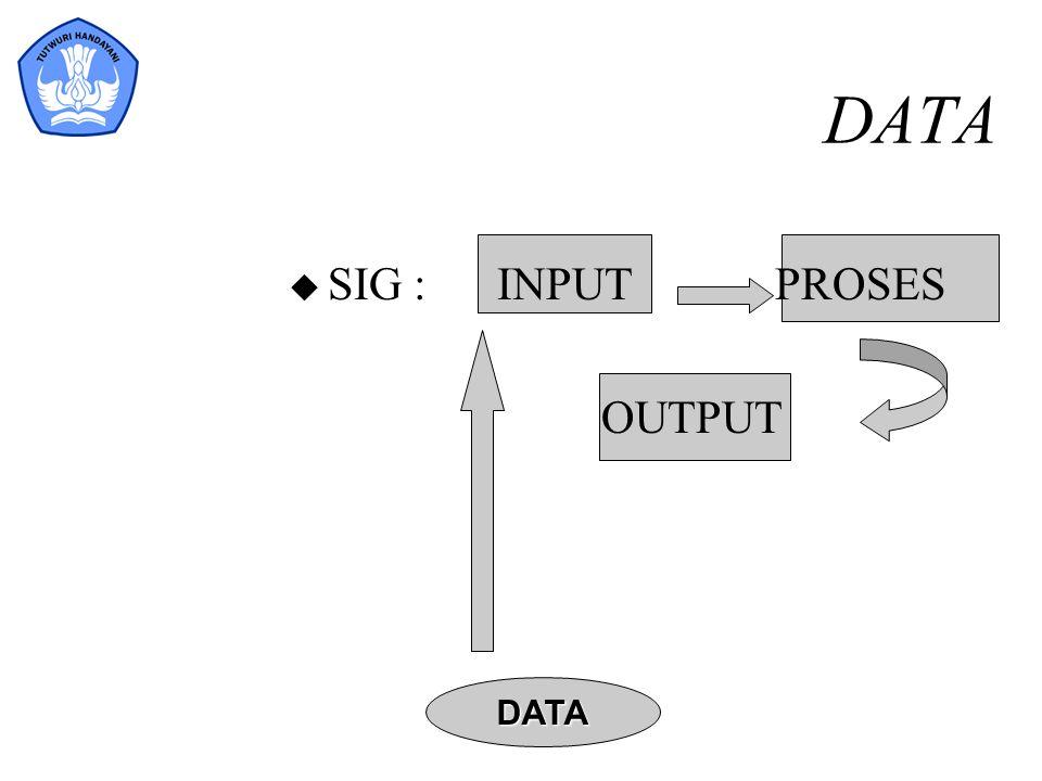 DATA u SIG :INPUT PROSES OUTPUT DATA