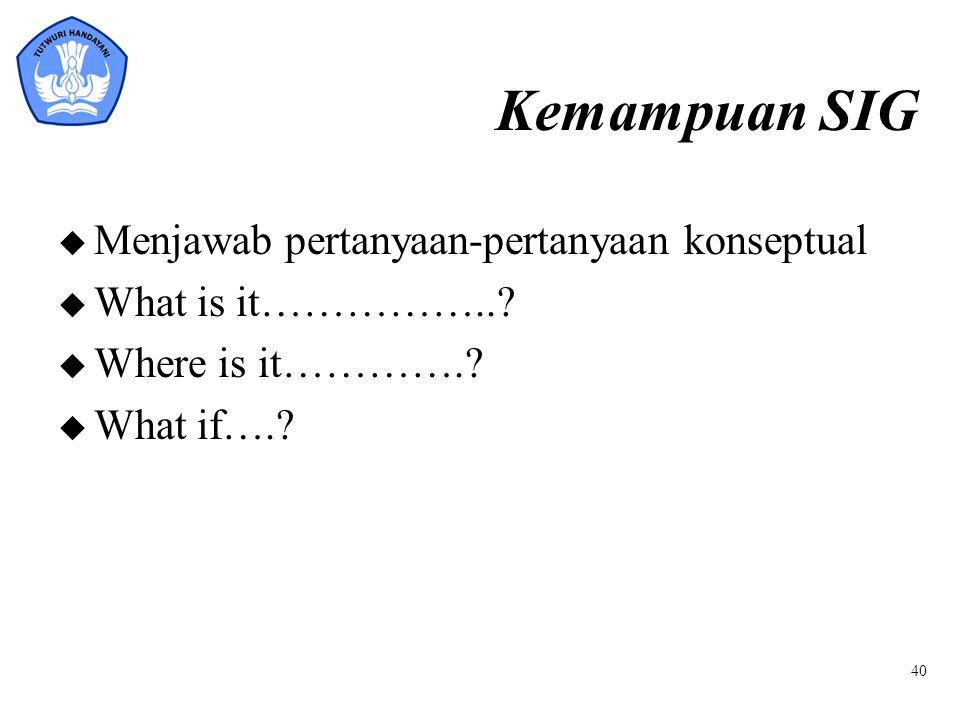 Kemampuan SIG u Menjawab pertanyaan-pertanyaan konseptual u What is it……………..? u Where is it………….? u What if….? 40
