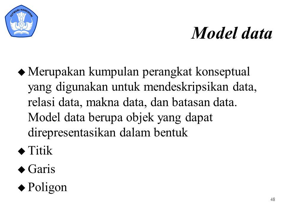 Model data u Merupakan kumpulan perangkat konseptual yang digunakan untuk mendeskripsikan data, relasi data, makna data, dan batasan data. Model data