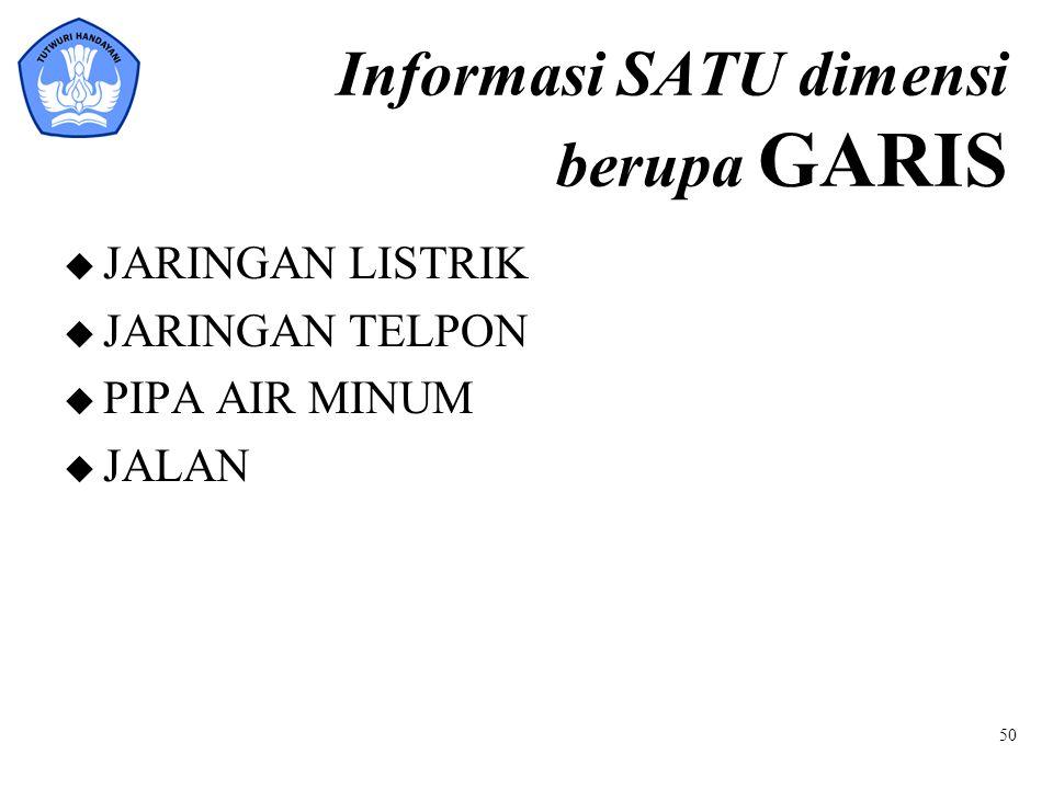Informasi SATU dimensi berupa GARIS u JARINGAN LISTRIK u JARINGAN TELPON u PIPA AIR MINUM u JALAN 50