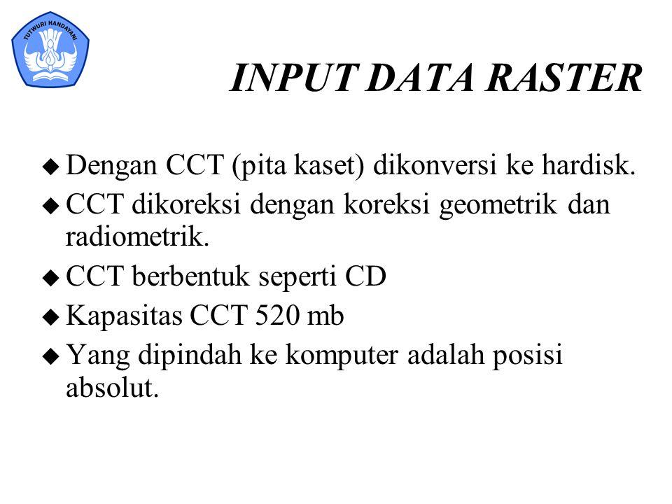 INPUT DATA RASTER u Dengan CCT (pita kaset) dikonversi ke hardisk. u CCT dikoreksi dengan koreksi geometrik dan radiometrik. u CCT berbentuk seperti C