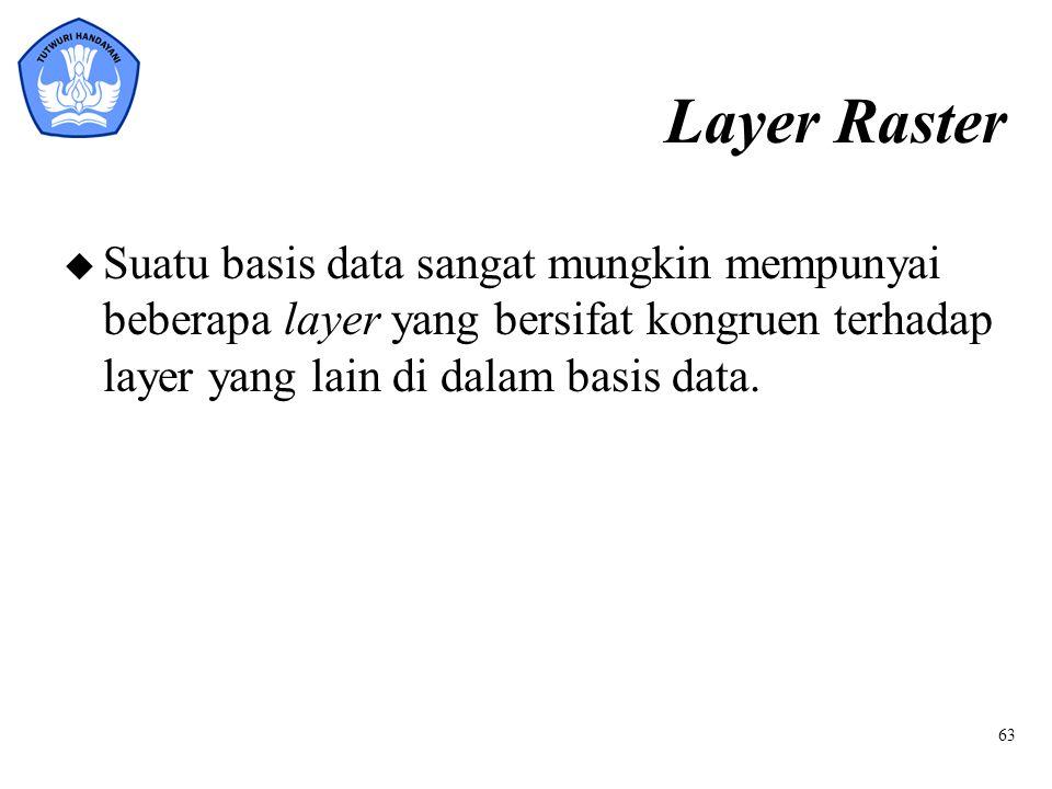 Layer Raster u Suatu basis data sangat mungkin mempunyai beberapa layer yang bersifat kongruen terhadap layer yang lain di dalam basis data. 63