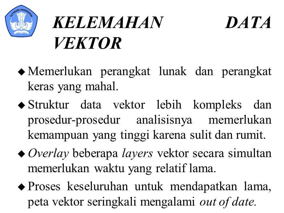 KELEMAHAN DATA VEKTOR u Memerlukan perangkat lunak dan perangkat keras yang mahal. u Struktur data vektor lebih kompleks dan prosedur-prosedur analisi