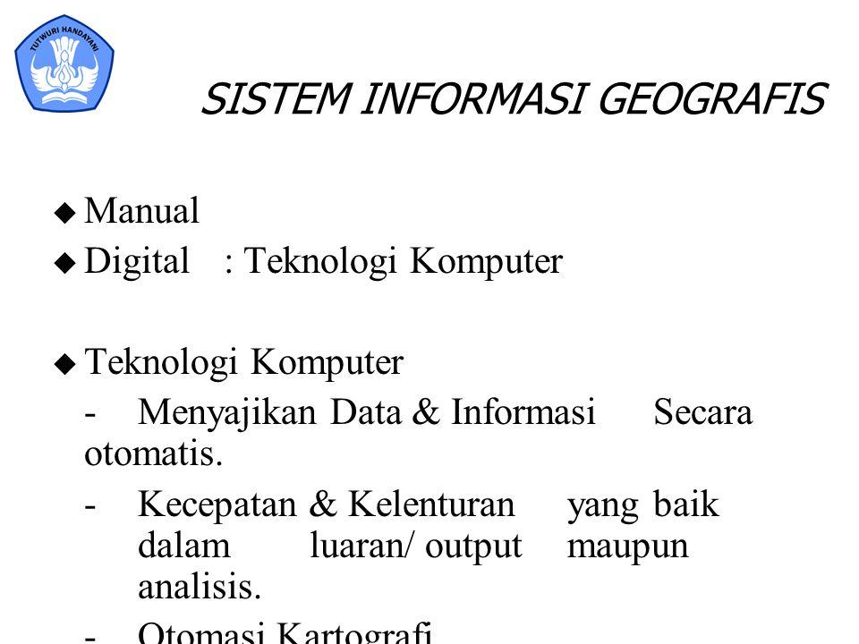 SISTEM INFORMASI GEOGRAFIS u Manual u Digital: Teknologi Komputer u Teknologi Komputer - Menyajikan Data & Informasi Secara otomatis. - Kecepatan & Ke