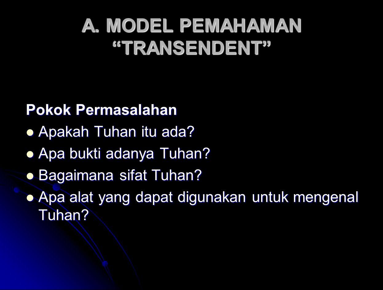A.MODEL PEMAHAMAN TRANSENDENT Pokok Permasalahan Apakah Tuhan itu ada.