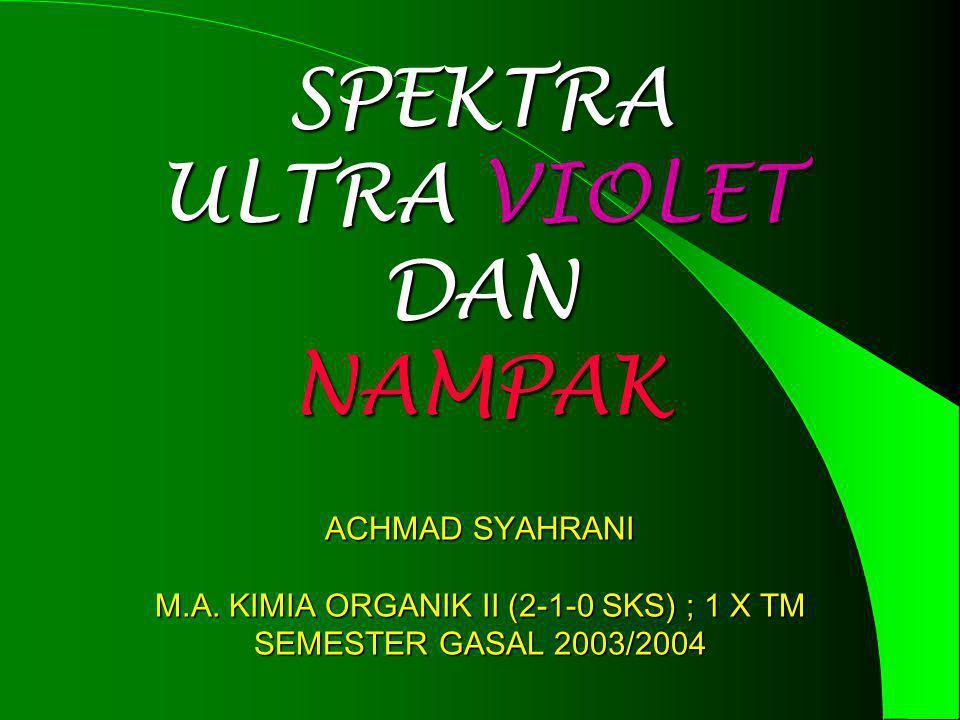 SPEKTRA ULTRA VIOLET DAN NAMPAK ACHMAD SYAHRANI M.A. KIMIA ORGANIK II (2-1-0 SKS) ; 1 X TM SEMESTER GASAL 2003/2004
