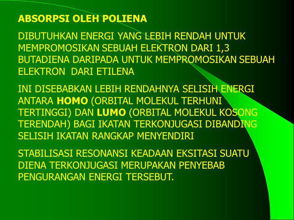 ABSORPSI OLEH POLIENA DIBUTUHKAN ENERGI YANG LEBIH RENDAH UNTUK MEMPROMOSIKAN SEBUAH ELEKTRON DARI 1,3 BUTADIENA DARIPADA UNTUK MEMPROMOSIKAN SEBUAH E