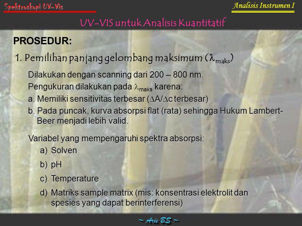 Analisis Instrumen I ~ Arie BS ~ Spektroskopi UV-Vis UV-VIS untuk Analisis Kuantitatif PROSEDUR: 1. Pemilihan panjang gelombang maksimum ( maks ) Dila