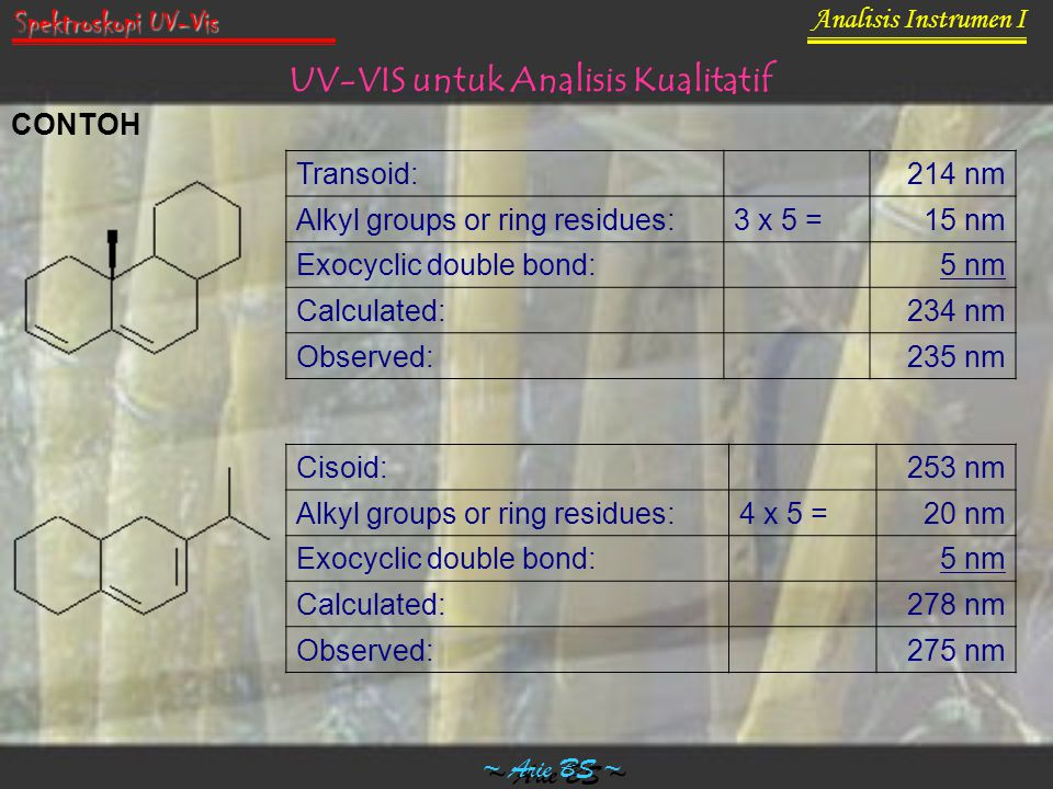 Transoid: 214 nm Alkyl groups or ring residues:3 x 5 =15 nm Exocyclic double bond: 5 nm Calculated: 234 nm Observed: 235 nm Cisoid: 253 nm Alkyl group