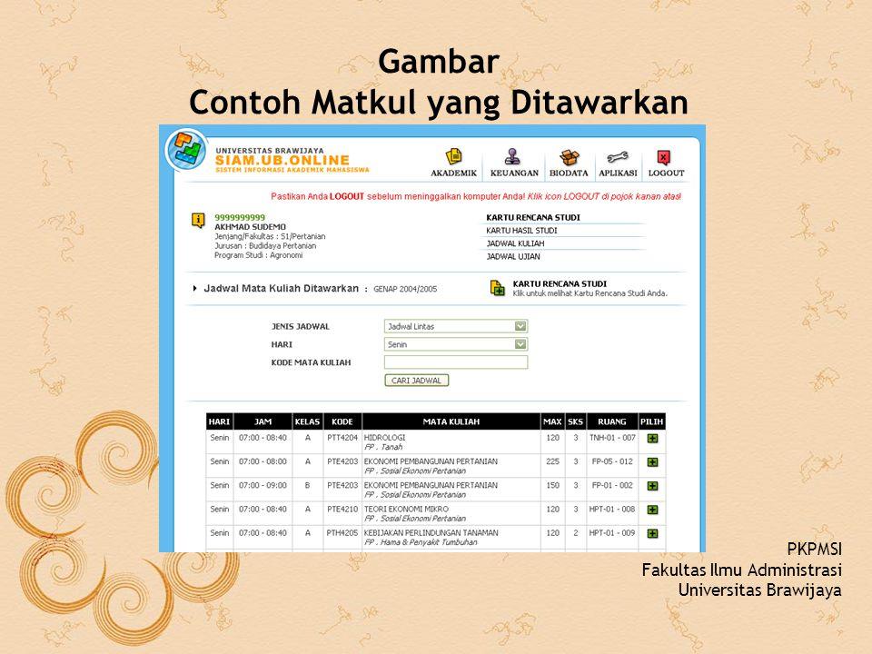 Gambar Contoh Matkul yang Ditawarkan PKPMSI Fakultas Ilmu Administrasi Universitas Brawijaya