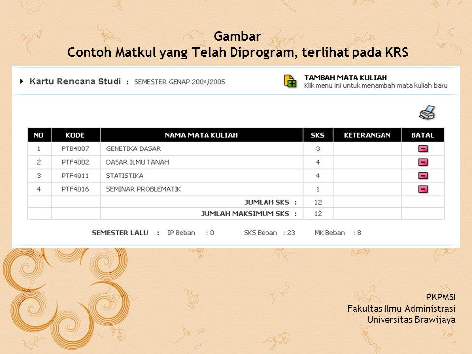 Gambar Contoh Matkul yang Telah Diprogram, terlihat pada KRS PKPMSI Fakultas Ilmu Administrasi Universitas Brawijaya