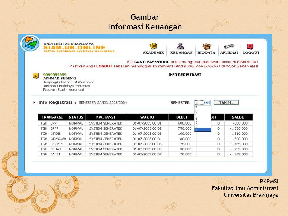 Gambar Informasi Keuangan PKPMSI Fakultas Ilmu Administrasi Universitas Brawijaya