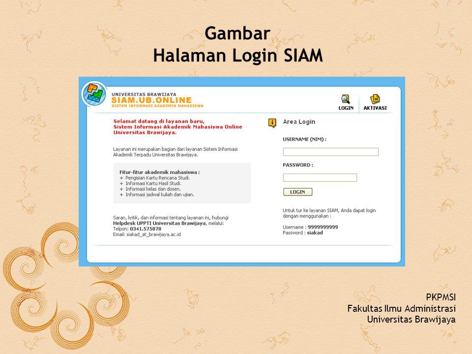 Gambar Halaman Login SIAM PKPMSI Fakultas Ilmu Administrasi Universitas Brawijaya