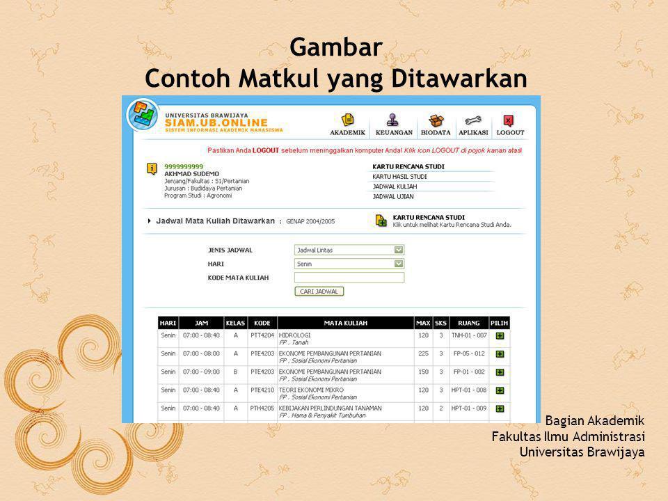 Gambar Contoh Matkul yang Ditawarkan Bagian Akademik Fakultas Ilmu Administrasi Universitas Brawijaya