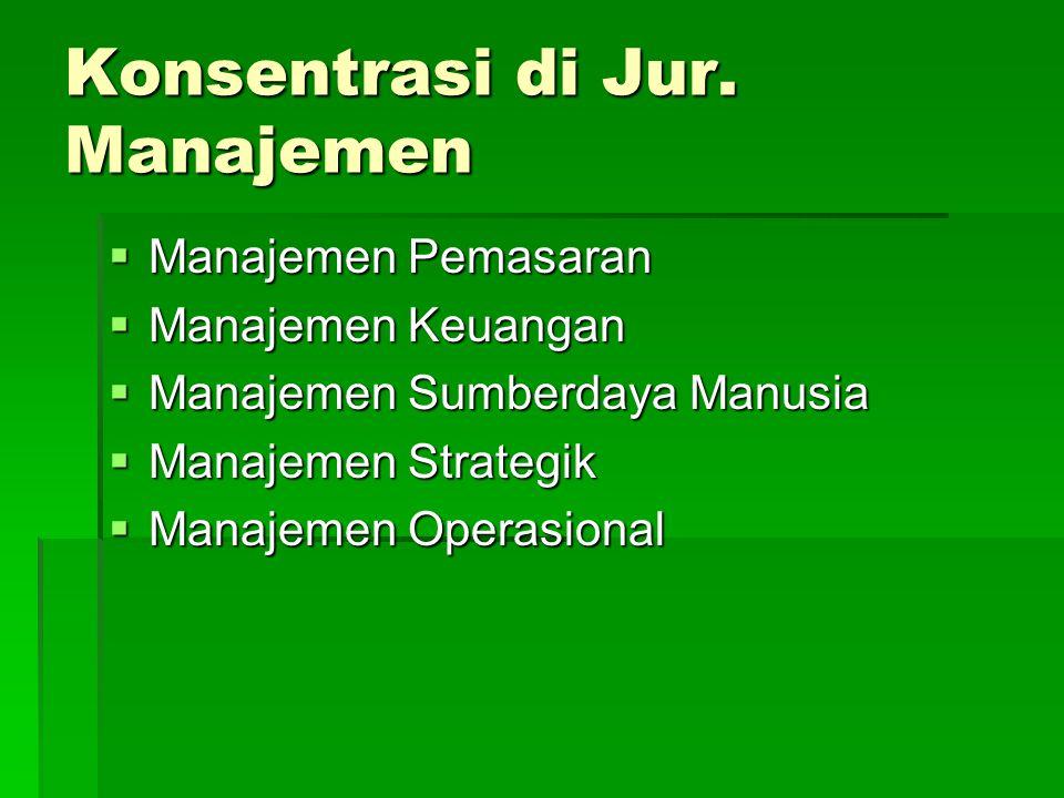 Konsentrasi di Jur. Manajemen  Manajemen Pemasaran  Manajemen Keuangan  Manajemen Sumberdaya Manusia  Manajemen Strategik  Manajemen Operasional