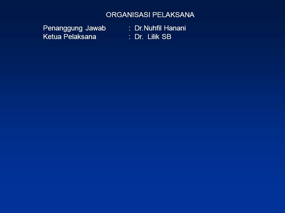 ORGANISASI PELAKSANA Penanggung Jawab : Dr.Nuhfil Hanani Ketua Pelaksana: Dr. Lilik SB