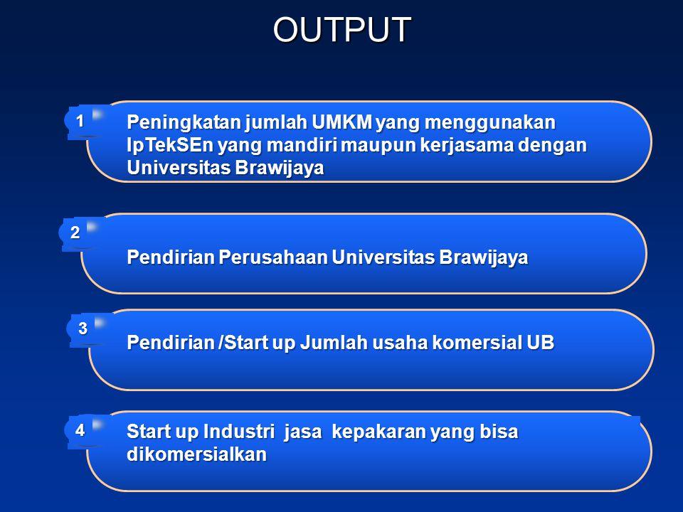 OUTPUT Peningkatan jumlah UMKM yang menggunakan IpTekSEn yang mandiri maupun kerjasama dengan Universitas Brawijaya 1 Pendirian Perusahaan Universitas