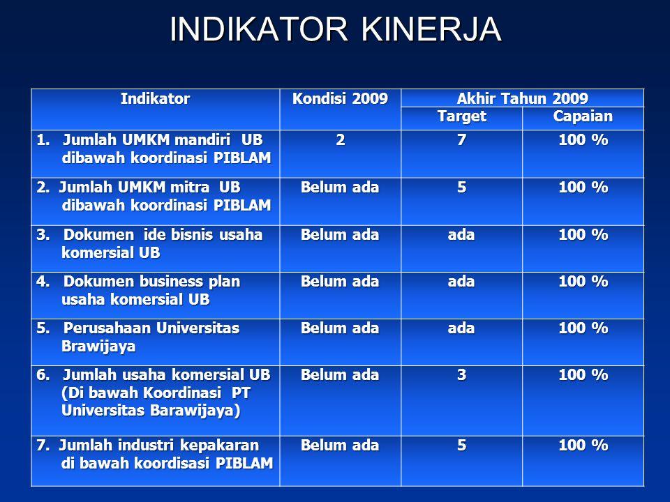 Indikator Kondisi 2009 Akhir Tahun 2009 TargetCapaian 1. Jumlah UMKM mandiri UB dibawah koordinasi PIBLAM 27 100 % 2. Jumlah UMKM mitra UB dibawah koo