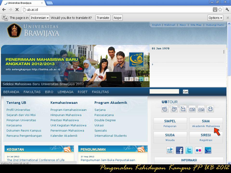 klik LOGOUT jika ingin keluar dari Program SIAM ONLINE Pengenalan Kehidupan Kampus FP UB 2012