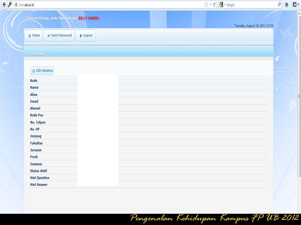 Klik Logout Untuk Keluar Mode Ganti Password Pengenalan Kehidupan Kampus FP UB 2012