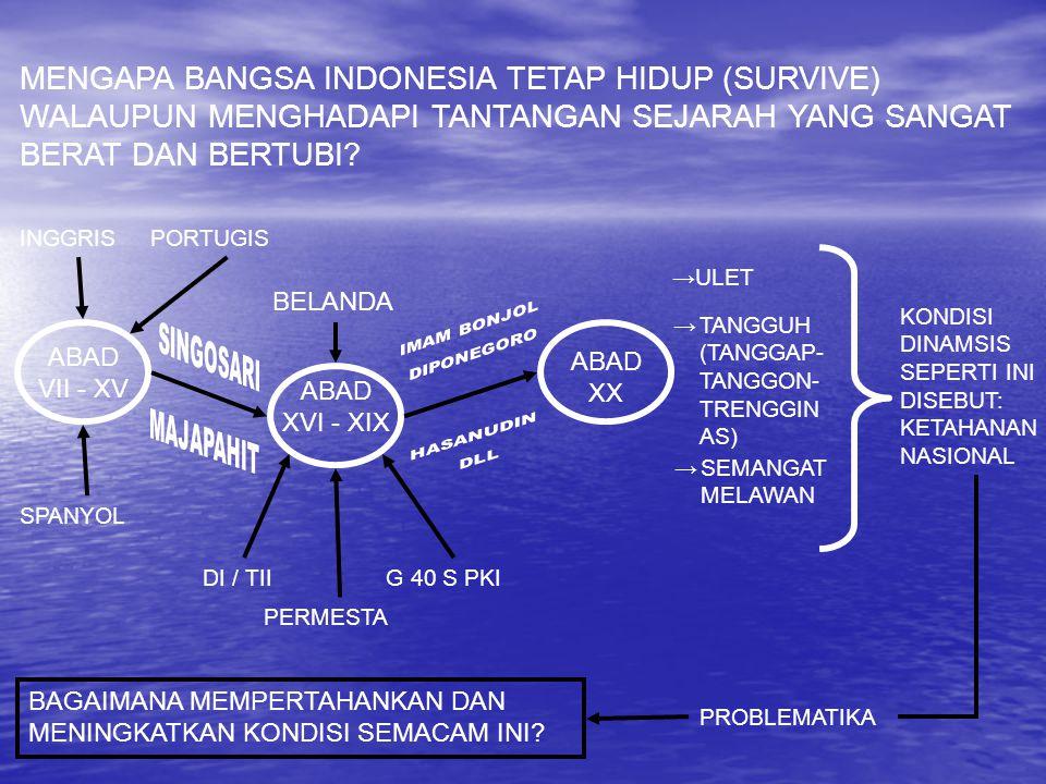 MENGAPA BANGSA INDONESIA TETAP HIDUP (SURVIVE) WALAUPUN MENGHADAPI TANTANGAN SEJARAH YANG SANGAT BERAT DAN BERTUBI? ABAD VII - XV ABAD XX ABAD XVI - X
