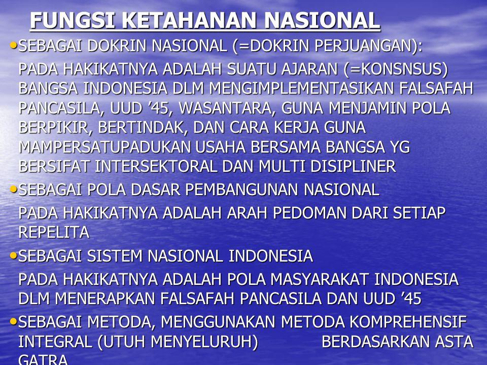 FUNGSI KETAHANAN NASIONAL SEBAGAI DOKRIN NASIONAL (=DOKRIN PERJUANGAN): SEBAGAI DOKRIN NASIONAL (=DOKRIN PERJUANGAN): PADA HAKIKATNYA ADALAH SUATU AJA