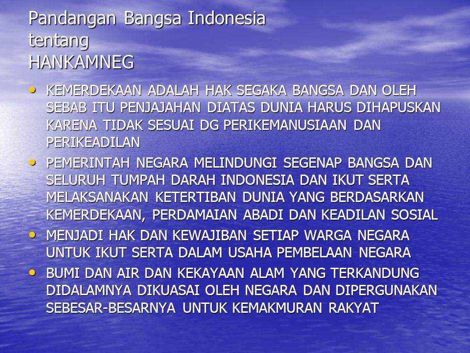 Pandangan Bangsa Indonesia tentang HANKAMNEG KEMERDEKAAN ADALAH HAK SEGAKA BANGSA DAN OLEH SEBAB ITU PENJAJAHAN DIATAS DUNIA HARUS DIHAPUSKAN KARENA T