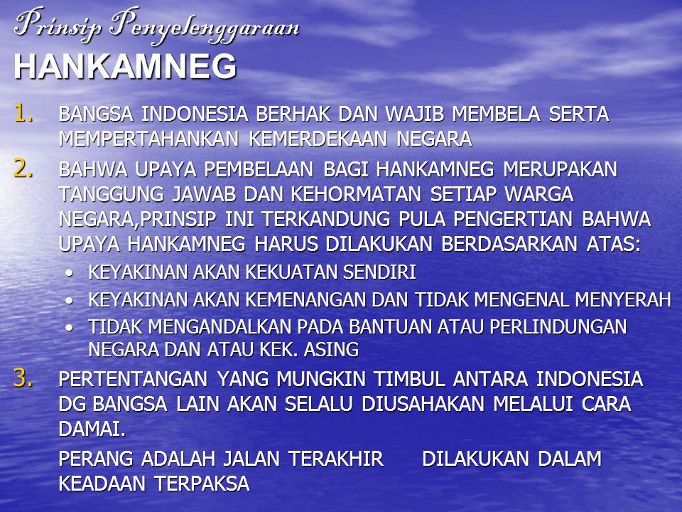Prinsip Penyelenggaraan HANKAMNEG 1. BANGSA INDONESIA BERHAK DAN WAJIB MEMBELA SERTA MEMPERTAHANKAN KEMERDEKAAN NEGARA 2. BAHWA UPAYA PEMBELAAN BAGI H