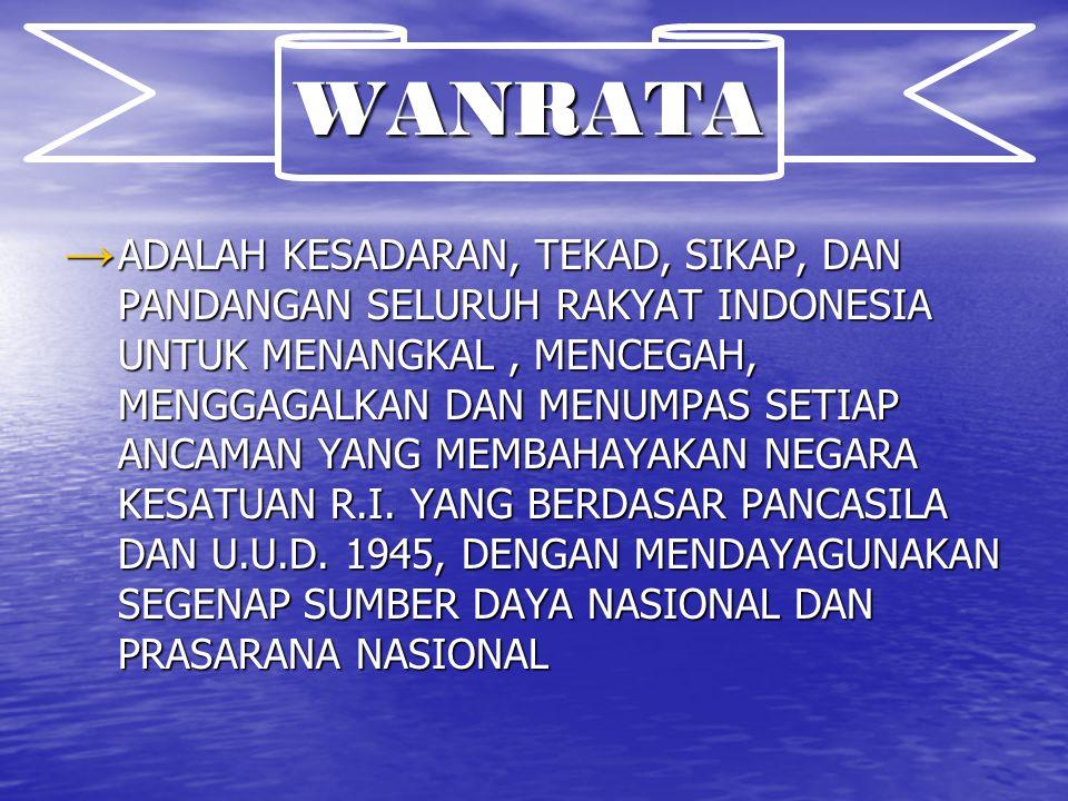 WANRATA → ADALAH KESADARAN, TEKAD, SIKAP, DAN PANDANGAN SELURUH RAKYAT INDONESIA UNTUK MENANGKAL, MENCEGAH, MENGGAGALKAN DAN MENUMPAS SETIAP ANCAMAN Y